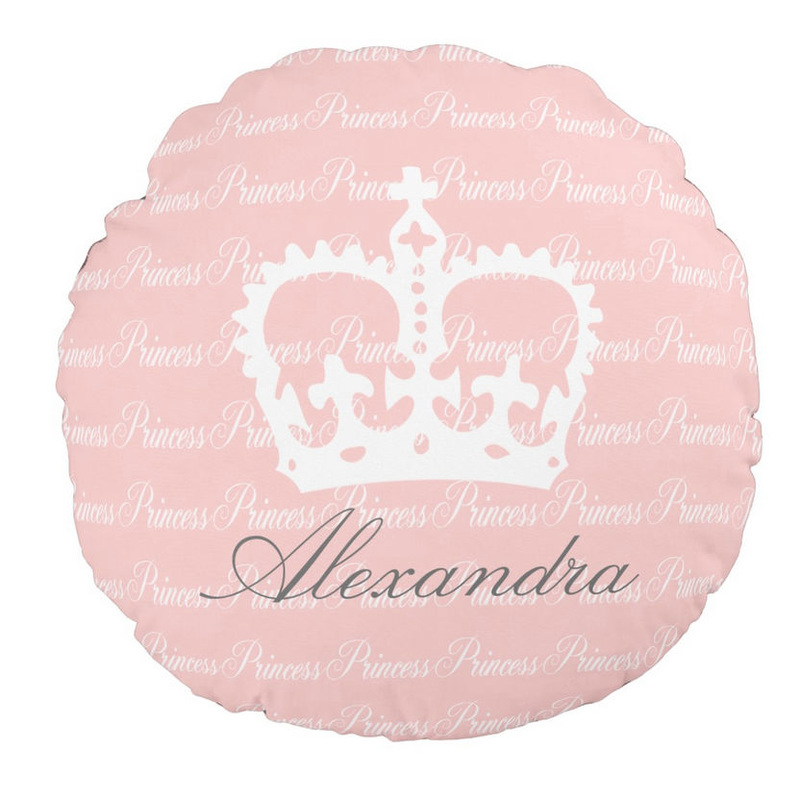 Girly Pink and White Princess Crown Custom Name Round Pillow