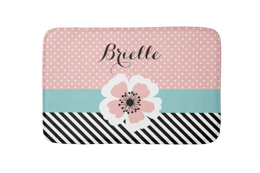 Retro Pink Polka Dots and Diagonal Stripes Flower With Name Bathroom Mat