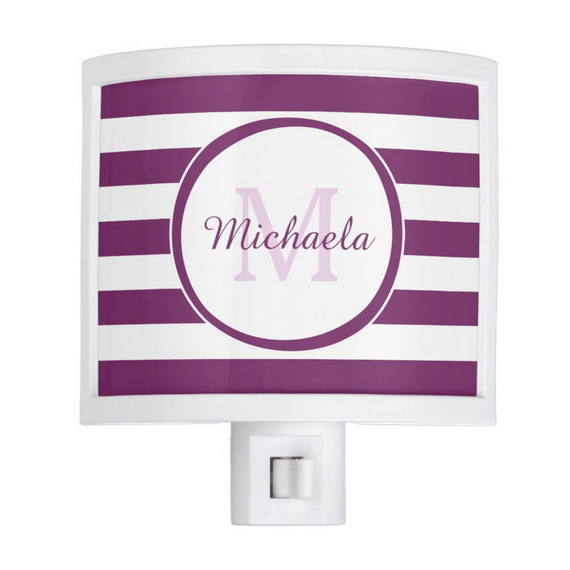 Smart Magenta Purple Rugby Stripes With Name and Monogram Night Light