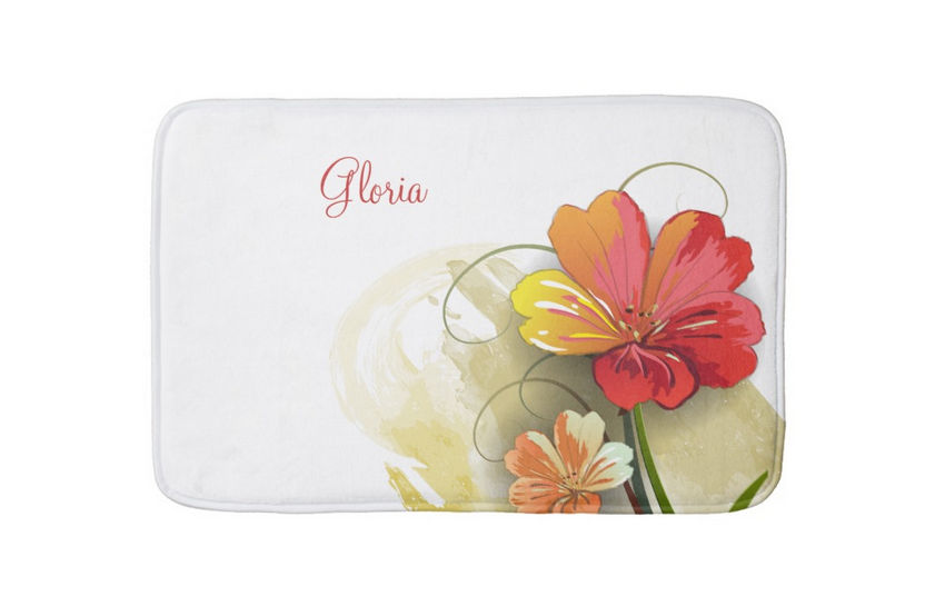 Elegant Autumn Orange Watercolor Floral With Personalized Name Bathmat