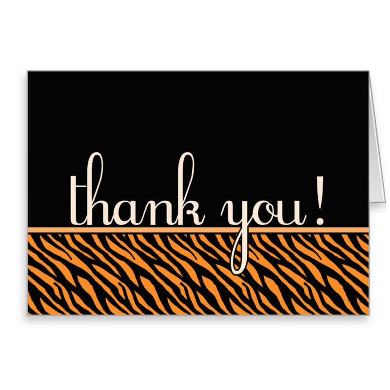 Stylish Orange and Black Tiger Print Thank You Note Cards