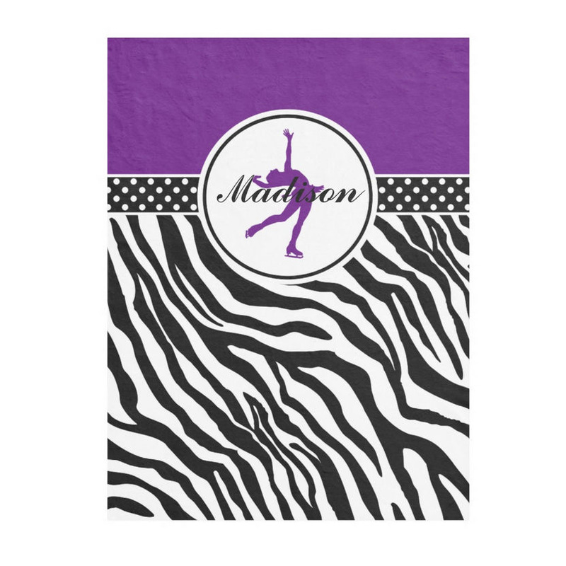 Girly Black and Purple Figure Skating With Zebra Print and Name Fleece Blanket