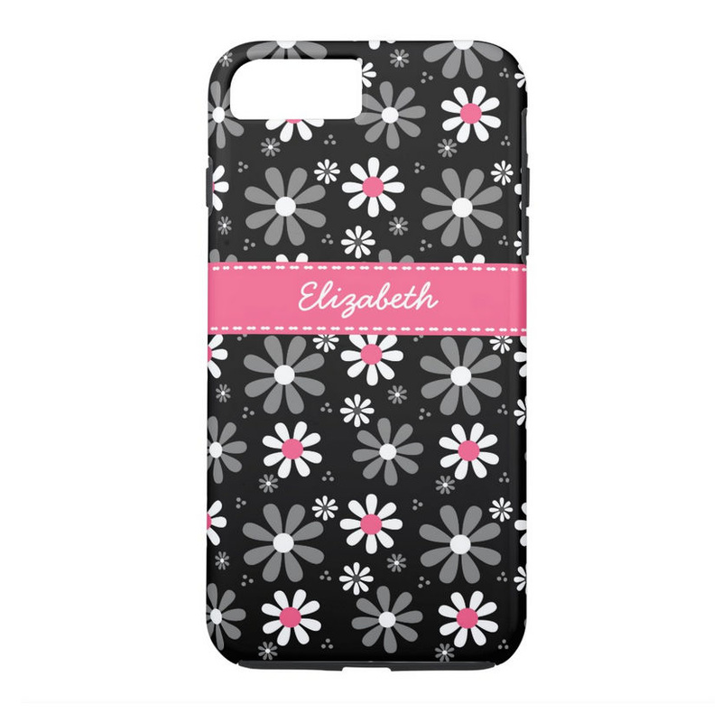 Cute Pink and Black Girly Mod Daisies With Name iPhone 7 Plus Case