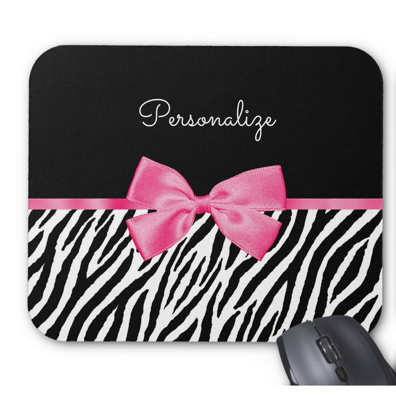 Trendy Zebra Print Chic Hot Pink Bow and Name Mouse Pad
