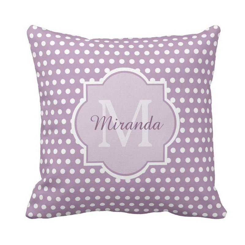 Girly Lavender Purple Polka Dots Monogram and Name Throw Pillow