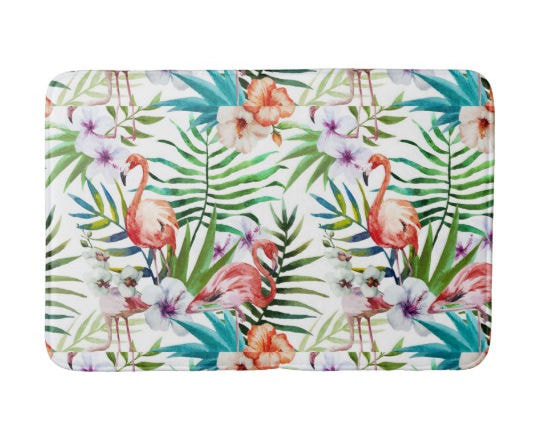 Elegant and Tropical Greenery With Pink Flamingos Bath Mat