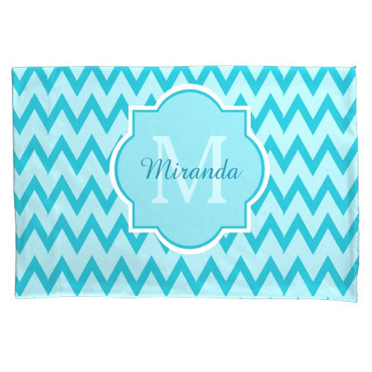 Trendy Turquoise Chevron Zigzag Name and Monogram Pillowcase