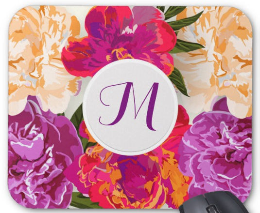 Red and Pink Watercolor Flowers Fine Floral Monogram Mouse Pad