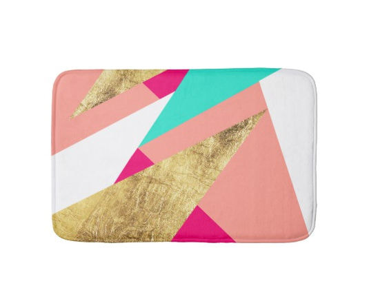 Modern Mint Coral and Gold Triangles Color Block Bath Mat
