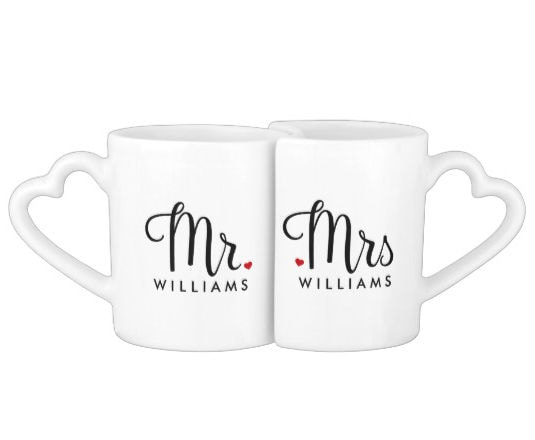 Trendy and Simple Script Mr. and Mrs. Coffee Mug Set