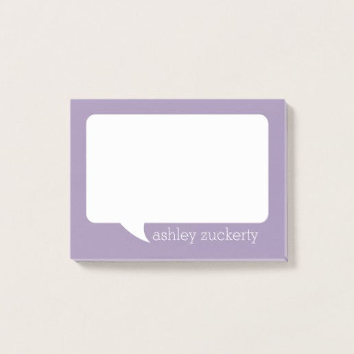 Lavender and White Talk Bubble Personalized Name Post-it Notes