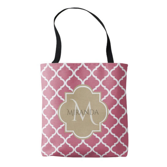 Chic Monogram Rose Pink Tan Quatrefoil and Name Tote Bag