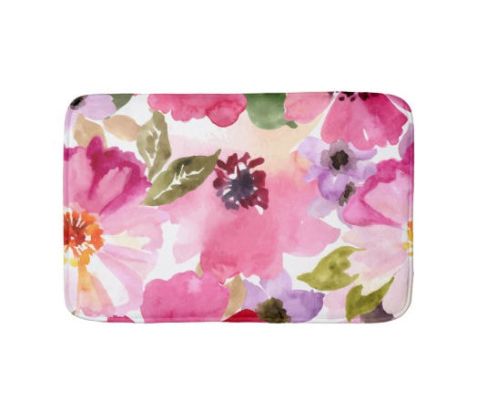 Watercolor Flowers Pink Fuchsia Bathroom Mat