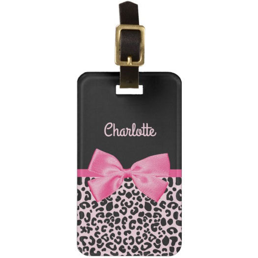 Girly Pink Black Leopard Print Cute Bow and Name Bag Tag