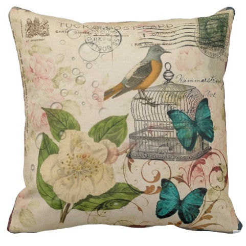 Shabby Chic Rose Botanical Birdcage French Bird Throw Pillow